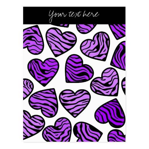 Purple Zebra hearts Design Postcard Postcards