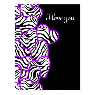 Purple zebra hearts Design Postcard Post Card