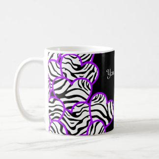 Purple zebra hearts mug