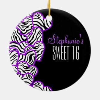 Purple zebra hearts Sweet 16 Birthday Ornament