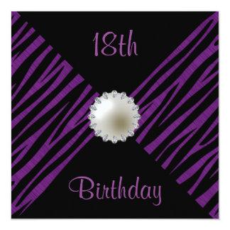 Purple Zebra & Pearl 18th Birthday 13 Cm X 13 Cm Square Invitation Card