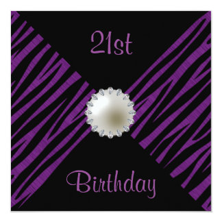 Purple Zebra & Pearl 21st Birthday 13 Cm X 13 Cm Square Invitation Card