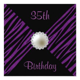 Purple Zebra & Pearl 35th Birthday 13 Cm X 13 Cm Square Invitation Card