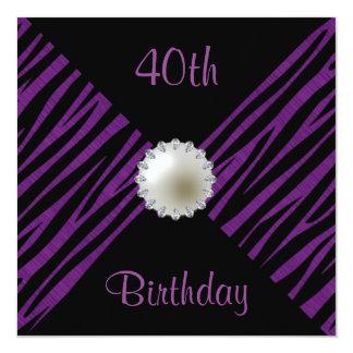 Purple Zebra & Pearl 40th Birthday 13 Cm X 13 Cm Square Invitation Card