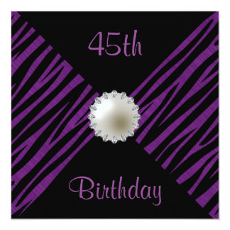 Purple Zebra & Pearl 45th Birthday 13 Cm X 13 Cm Square Invitation Card