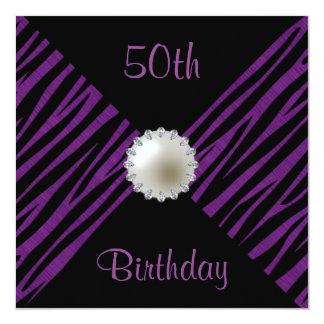 Purple Zebra & Pearl 50th Birthday 13 Cm X 13 Cm Square Invitation Card