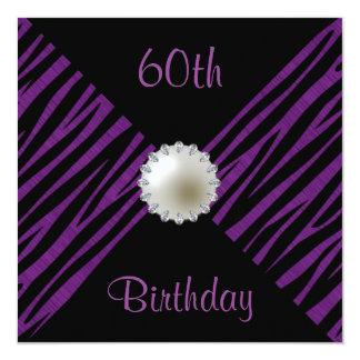 Purple Zebra & Pearl 60th Birthday 13 Cm X 13 Cm Square Invitation Card
