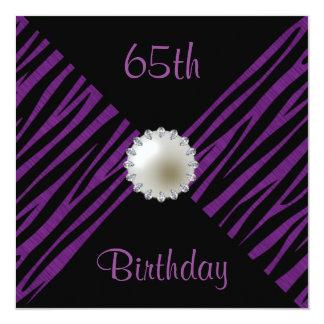 Purple Zebra & Pearl 65th Birthday 13 Cm X 13 Cm Square Invitation Card