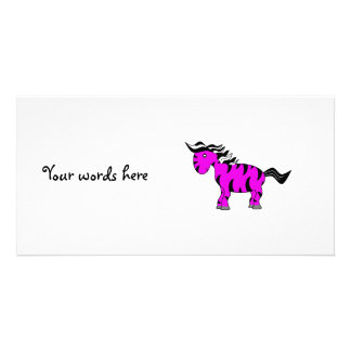 Purple zebra custom photo card