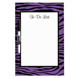 Purple Zebra Print Dry Erase Whiteboard