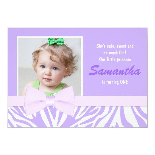 Purple Zebra Print Girls Birthday Party Photo Card