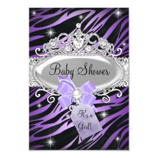 Purple Zebra Print & Princess Tiara Baby Shower 9 Cm X 13 Cm Invitation Card