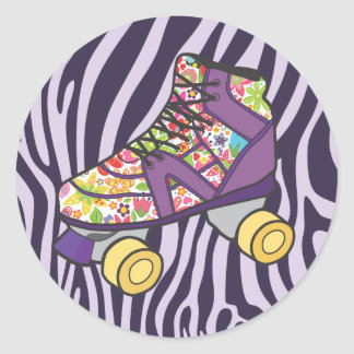 Purple Zebra Print Roller Skate Party Sticker