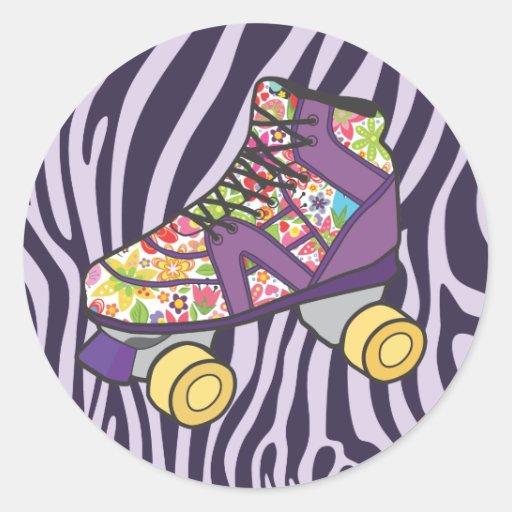 Purple Zebra Print Roller Skate Party Sticker
