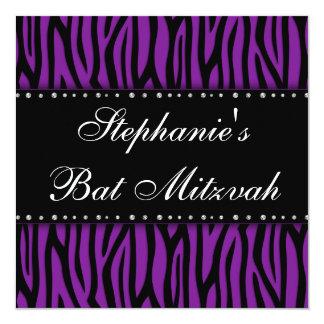 Purple Zebra Printed Diamonds Bat Mitzvah Card