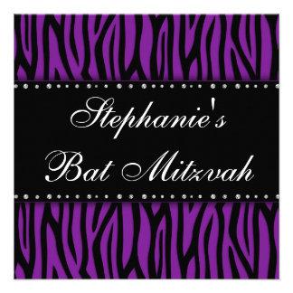 Purple Zebra Printed Diamonds Bat Mitzvah Personalized Announcements