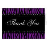 Purple Zebra Printed Diamonds Thank You Note Card