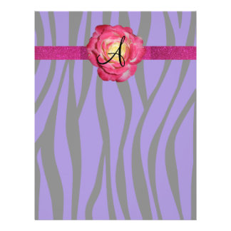 Purple zebra stripe monogram pink rose flyers
