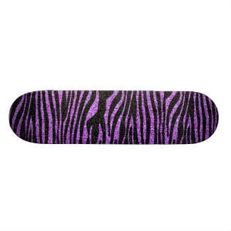 Purple Zebra stripe pattern (faux glitter bling) 21.3 Cm Mini Skateboard Deck