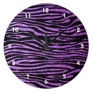 Purple Zebra stripe pattern (faux glitter bling) Wallclock