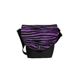 Purple Zebra stripe pattern (faux glitter bling) Courier Bag