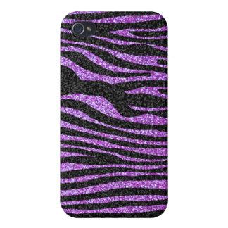 Purple Zebra stripe pattern (faux glitter bling) iPhone 4 Case