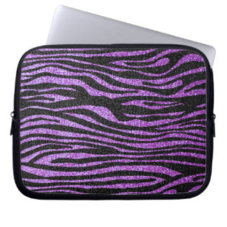 Purple Zebra stripe pattern (faux glitter bling) Laptop Sleeve