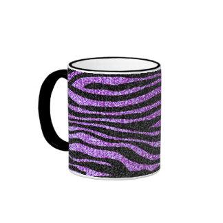 Purple Zebra stripe pattern (faux glitter bling) Ringer Mug