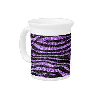 Purple Zebra stripe pattern (faux glitter bling) Pitcher