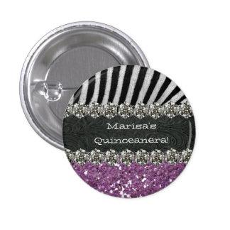 Purple Zebra Stripes Celebration Pinback Buttons