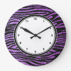 Purple Zebra stripes (faux glitter bling) Large Clock