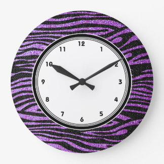 Purple Zebra stripes (faux glitter bling) Large Clock