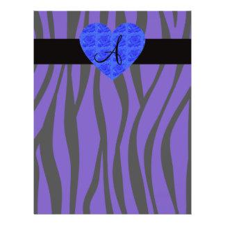 Purple zebra stripes monogram blue roses full color flyer