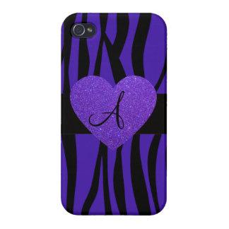 Purple zebra stripes monogram heart iPhone 4 cases