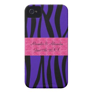 Purple zebra stripes pink roses wedding favors blackberry case
