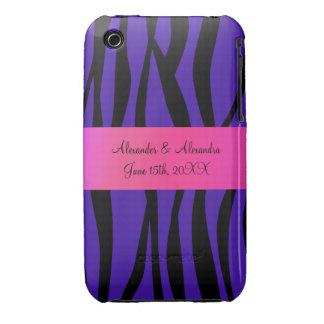 Purple zebra stripes wedding favors iPhone 3 Case-Mate cases