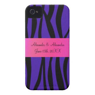 Purple zebra stripes wedding favors Case-Mate iPhone 4 case