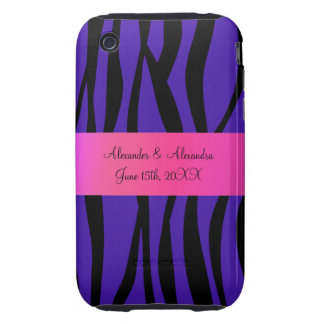 Purple zebra stripes wedding favors tough iPhone 3 covers