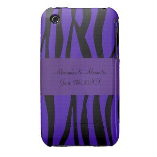 Purple zebra stripes wedding favors iPhone 3 cases
