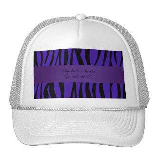 Purple zebra stripes wedding favors hats