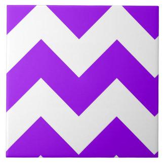 Purple Zigzag Pattern Large Square Tile