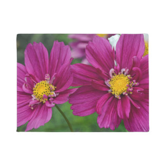 Purple zinnia flowers doormat