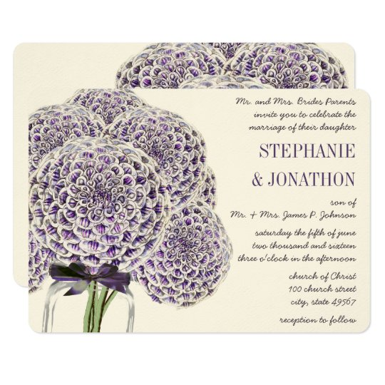 Purple Zinnia Mason Jar Wild Flower Wedding Card