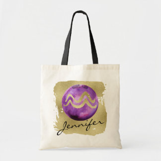 Purple Zodiac Sign Aquarius on Gold Background Tote Bag