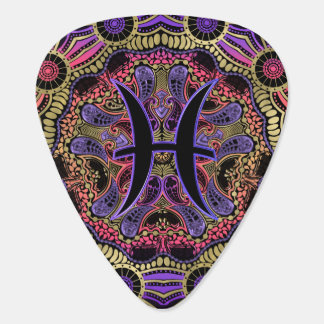 Purple Zodiac Sign Pisces Tribal Mandala Plectrum