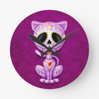 Purple Zombie Sugar Kitten Round Clock