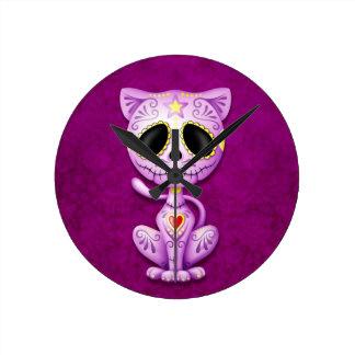 Purple Zombie Sugar Kitten Wallclock