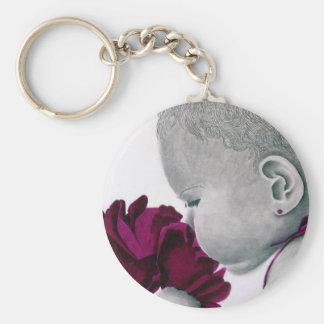 PurpleGirl1_flower Basic Round Button Key Ring