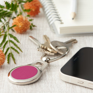 Purplish Red colored Silver-Colored Oval Key Ring