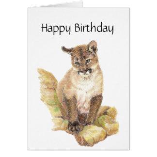 Purr- Fect Birthday, Cougar, Puma, Mountain Lion Greeting Card